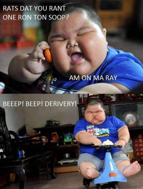 beep beep delivery fat kid funny image