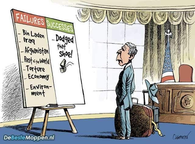 George Bush zijn successen dodge shoe