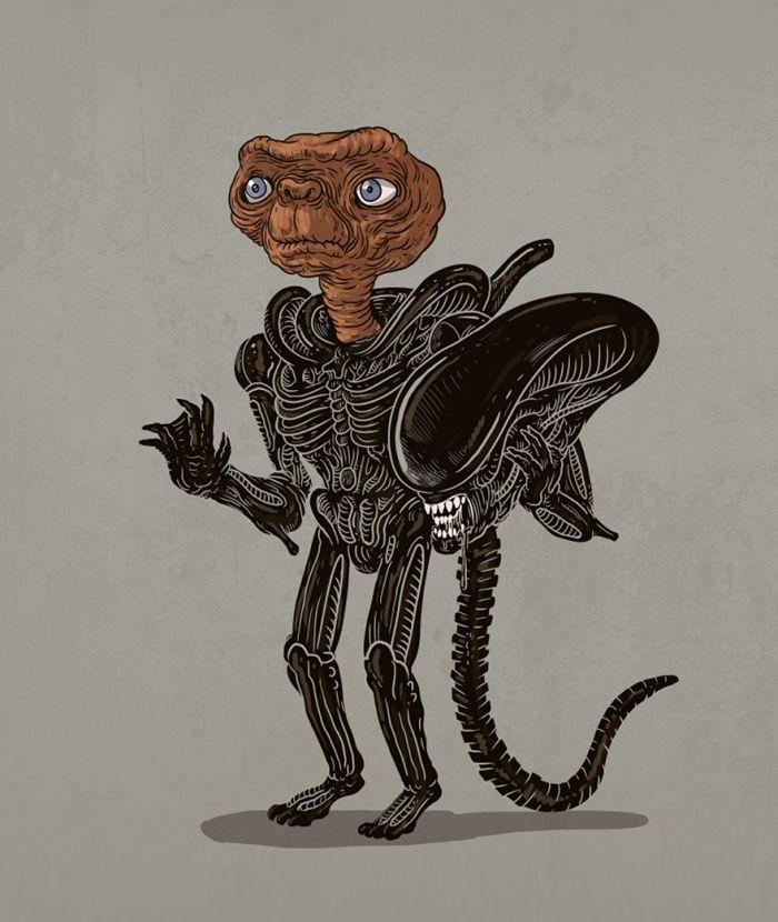 E.T. doet zich voor als Alien