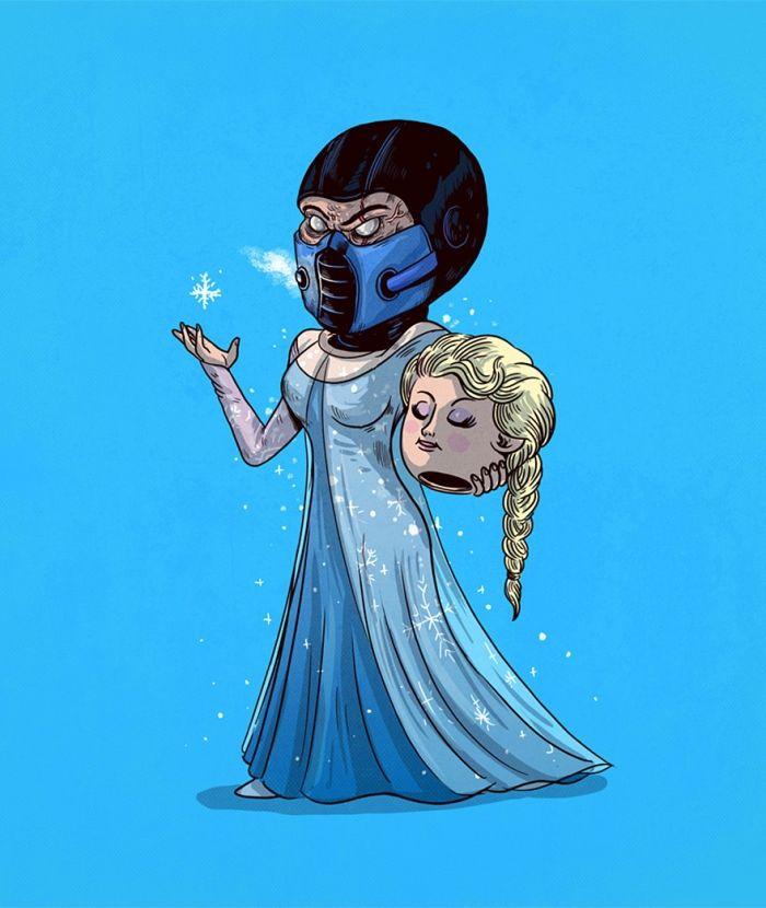 Sub Zero Mortal Kombat is Elsa van Frozen