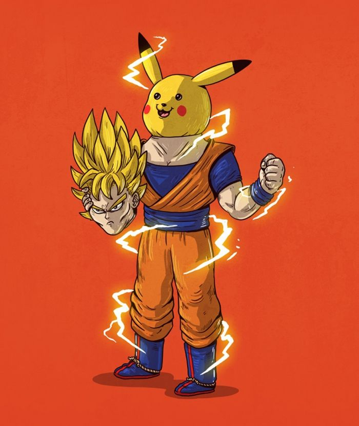 Pikachu pokemon is Goku van Dragon Ball Z