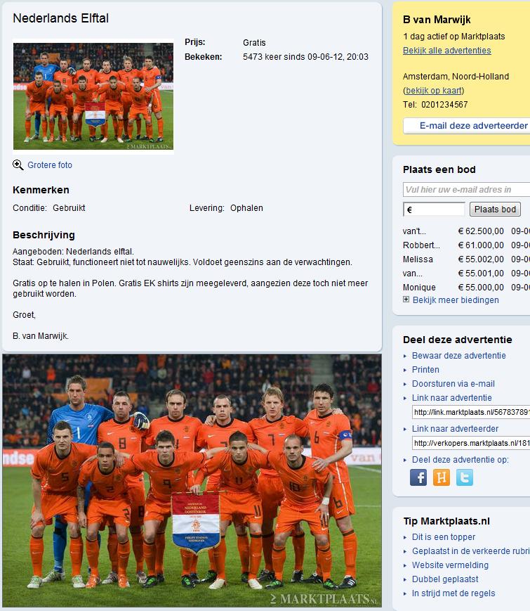 Te koop nederlands elftal EK 2012 Polen