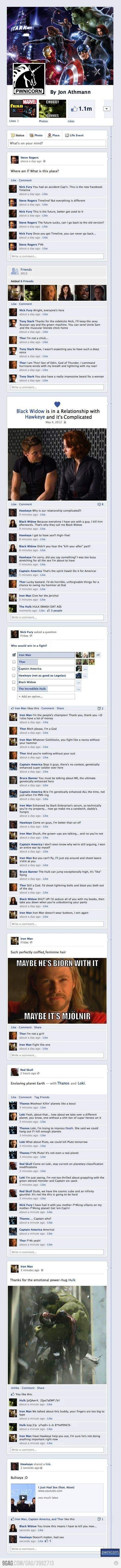 The Avengers on facebook humor