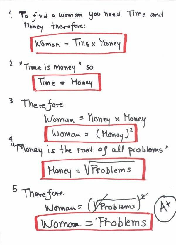 woman equals problems funny image